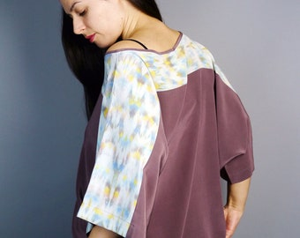 SAMPLE SALE***gray silk shibori women's gray and yellow tie dye ikat blouse