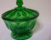 Anchor Hocking Compote Emerald Green Pedestal Candy Dish