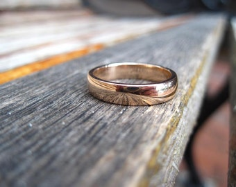 4mm Half Round Unisex Wedding Band in Yellow, White, or Rose Gold