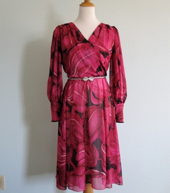 Vintage 1970s Dress - Glam Pink and Black Floral Dress by Lilli Diamond - 70s Casino Weekend Dress M