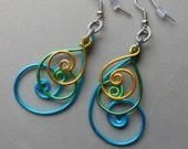 3 inch Peacock Gold Green Blue Aluminum Wire Earrings