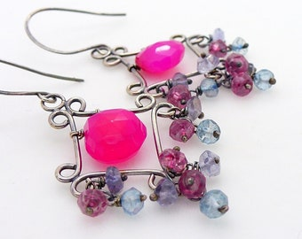 Blue and bright pink chandelier earrings in sterling silver, pink chalcedony earrings, neon hot pink jewellery