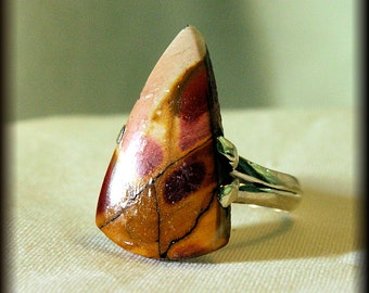 Breccitaed MOOKAITE-Rough Cut-.925 Sterling Silver Ring-Size 7.5