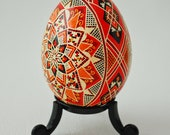 Ukrainian Easter Egg with Stars - Kaleidoscope Eyes - Real Traditional Ukrainian Large Chicken Easter Egg