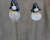 Penguin Glass Knitting Needles -- Slightly curved needles so sold at a big discount