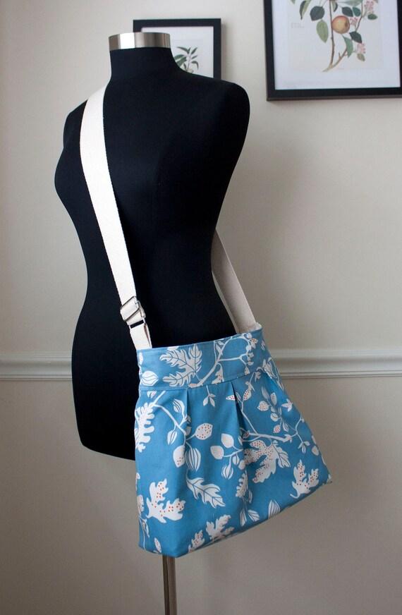 cross body diaper bag // blue camera bag // medium cross body messenger bag // sky blue twig and leaf // the mini bravo bag // READY TO SHIP