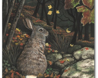 Cottontail Rabbit Wildlife Hare Falling Leaves Autumn  - Art Prints by Bihrle wd44