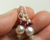 Natural Baroque Freshwater Pearls and gemstone dangle earrings, Sterling Silver french hooks, gift for her, pearl gemstone cluster earrings