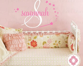 Princess Initial and Name Wall Decal - Wand and Stars - Vinyl Wall Decal for Baby Nursery Bedroom Girl Teen 22h x 32w INA0047