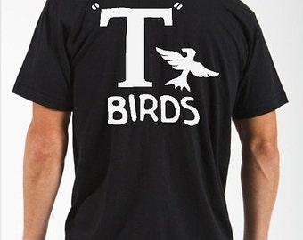 S,M,L, XL, 2xl, 3xl T Birds black shirt GREASER Shirt tee Tshirt black lightning rocker 1950s 50s  sock hop white mens man dance music NEW