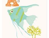ABC card, A is for Angelfish, ocean, ABC wall art, alphabet flash cards, nursery wall decor for kids