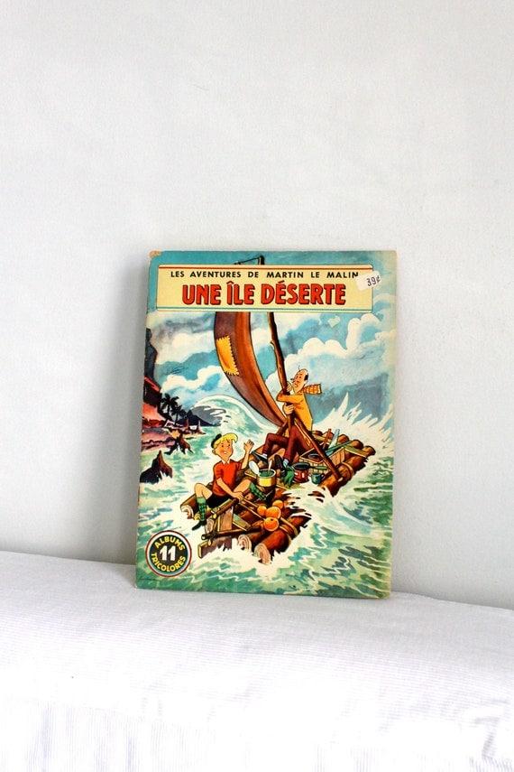 60s French children book - Martin le malin  UNE ILE DESERTE