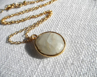 Moonstone necklace - gold necklace - moonstone and gold - A M E L I A 014