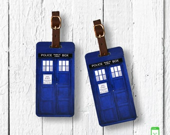 Personalized Luggage Tags British Blue Police Box  Luggage Tag Set Personalized Luggage Tags - Full Metal Tags