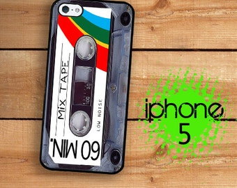 iPhone SE 5S Mix Tape iPhone 5S Case Plastic or Rubber Case for iPhone 5 iPhone 5S Mix Tape Classic 80's Cassette Tape Rainbow