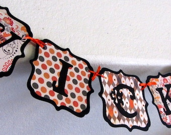 Halloween Banner - Vintage Inspired WICKED Paper Garland, October 31st, party, decoration, orange black swag bunting