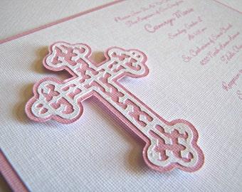 Baptism Invitations, First Communion Invitation, Pink Cross Invitation, Christening Invitation, Confirmation Invitation, Cross, Set of 12
