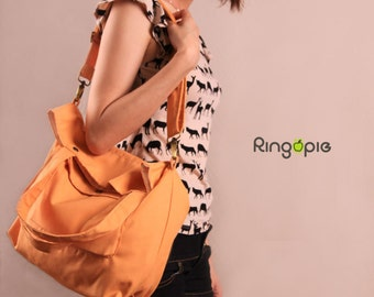 Sale 20%OFF-Ready To Ship-Light Orange Casual Bag/messenger bag/handbag/casual bag/handmade/shoulder bag/school bag/tote/For Her/For Him-058