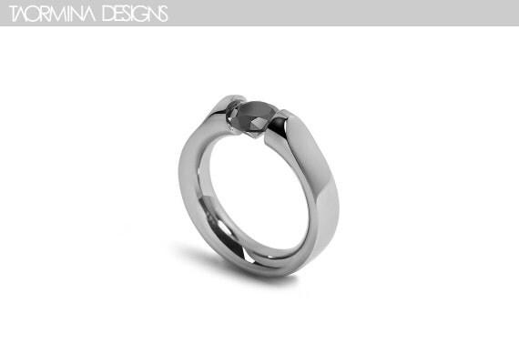 Black Diamond Ring Tension Setting Stainless Steel Design