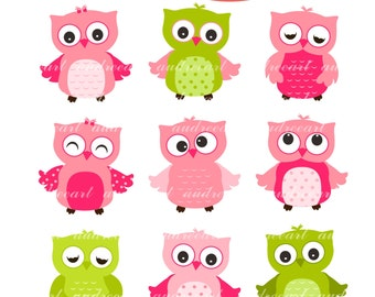 Pink Owl Clip Art // Pink Owl Clipart, Pink Owls Clipart,Pink Owls Clip Art, Pink Green Owl, Girl Owl, Baby Girl Owl, Owls, Instant download