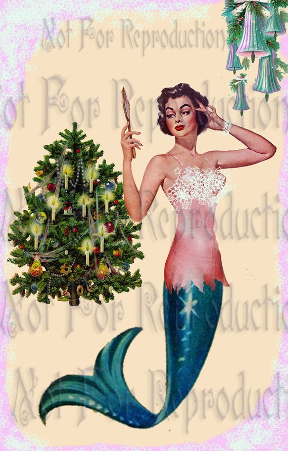 cm9 VINTAGE CHRISTMAS FABRIC Retro Pinup Mermaid Fabric Block