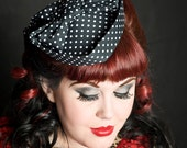 WINTER SALE 2016 Sweetheart Hat - Black & White Polkadot
