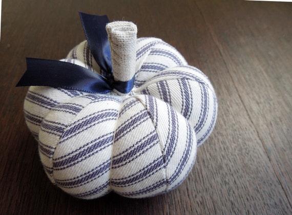 Classic Blue Cotton Ticking Pumpkin Pincushion