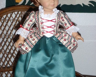 1770s Colonial Christmas Holiday Gown Dress & Cap for American Girl Felicity Elizabeth 18 inch doll