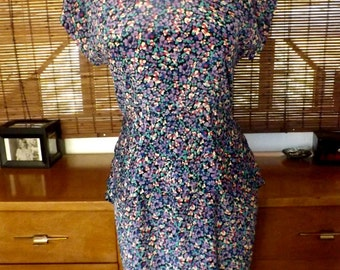 Vintage 80s Ruffle Peplum Floral Wiggle Dress M Free shipping