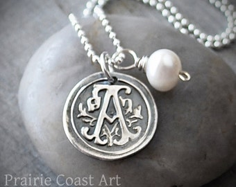 Personalized Wax Seal Initial Necklace - Custom Initial Charm - Wax Seal Necklace - Sterling Silver Monogram Necklace