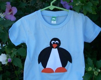 Penguin Tshirt Pieced Fabric Applique Toddler Infant Baby 6 month, 6m, 12 month, 12m, 18 month, 18m, 2T, 3T, 4T