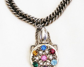 Jewel Tone Rhinestone Perfume Charm Bracelet