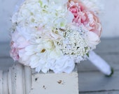 Silk Bride Bridesmaid Bouquet Daisies Peonies Roses Rustic Chic Wedding