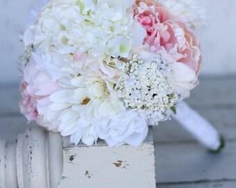 Silk Bride Bridesmaid Bouquet Daisies Peonies Roses Rustic Chic Wedding