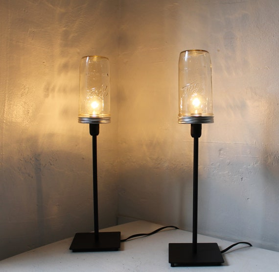 Industrial Lights - Set of 2 Mason Jar Lamps - Upcycled Table Top Lighting Fixtures - black metal and glass lamps - BootsNGus design