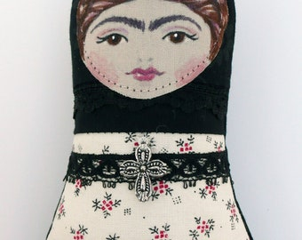 Frida Kahlo Doll, Black Cream and Red, Handmade Softie, Mini, Clip-on