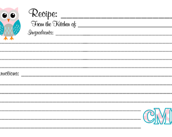 Owl Recipe Cards Customized Personalized Monogrammed 4x6 or 3x5 by request