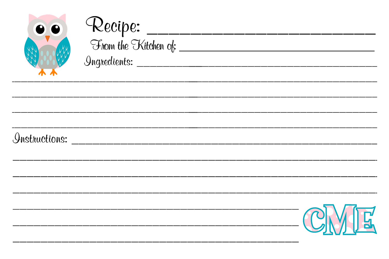 owl recipe cards customized personalized monogrammed 4x6 or