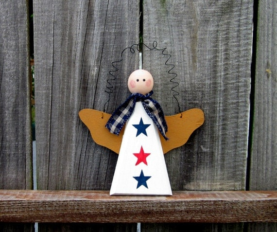 Americana Angel, Primitive, Wall Hanging, Red, White, Blue with Blue and Tan Ribbon