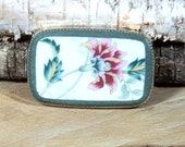Broken China Belt Buckle with Carnation Floral Spray One-Of-A-Kind