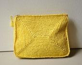 60s Yellow Woven Summer Clutch Bag Made in Korea