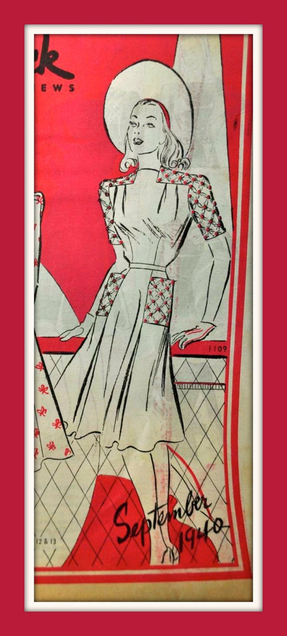 Vintage 1940's Butterick Sewing Pattern 1109 - LOVELY Two Piece Shirred Dress with Flared Skirt - size 14