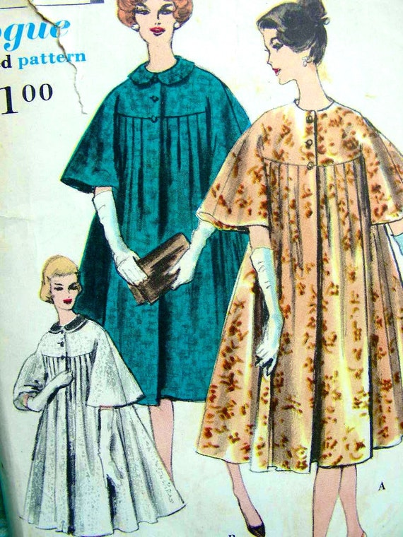 Vintage 1950s VOGUE Pattern 9851 - RARE - Beautiful Evening Coat with or without Detachable Collar  - Bust 34/36 - UNCUT