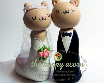 Cat Wedding Cake Topper Kitty Cats - Custom Made to Order - by The Happy Acorn