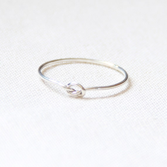 One Tiny Memory Knot Ring - Thread of Sterling Silver Ring - Tiny Stacking Ring - Delicate Jewelry - Memory Ring