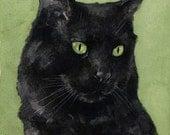 Black Cat Watercolor Painting 5x7 Print