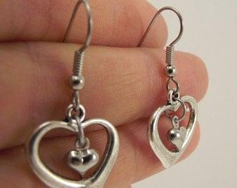 Double Hearts Earrings, Antiqued Silver Earrings