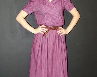 Vintage DRESS with Strips, Custom Tailored, 1970s