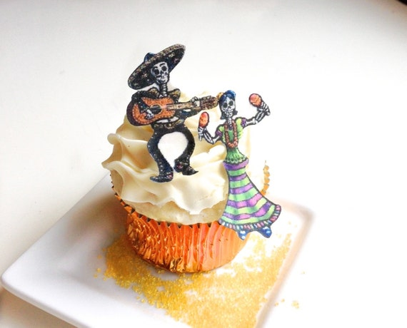 Edible Skeletons - New SMALL size - Dia De Los Muertos - Cake & Cupcake toppers - Halloween Decor