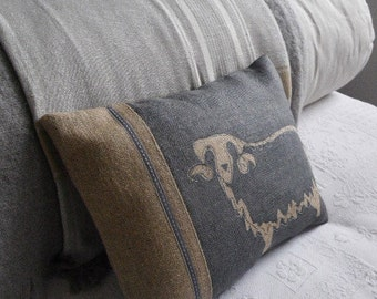 hand printed  muted blue sheep cushion